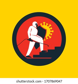Corona Virus Pandemic Germ Disinfecting Person In Protective Suit With Shield And Spray Nozzle Logo Icon Inside Circle Red.Yellow,Black and White Illustration Concept