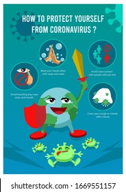 Corona virus Precaution Tips with earth globe stop Coronavirus Precaution Tips .Coronavirus 2019-nCoV infographic.Wuhan coronavirus 2019-nCoV concept Vector illustration