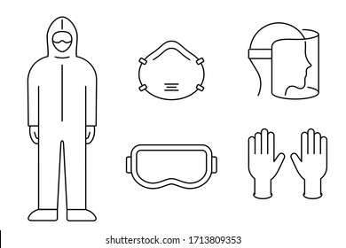 Corona virus prevention equipment line icon set. Protective suit, mask, gloves, goggles, face shield. Black outline on white background. PPE personal protection. Precaution measures. Vector, clip art.