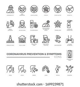Corona virus prevention and symptoms line icon template. Contains such Icons as Washing Instruction, Antiseptic, social distancing, stay at home and more.