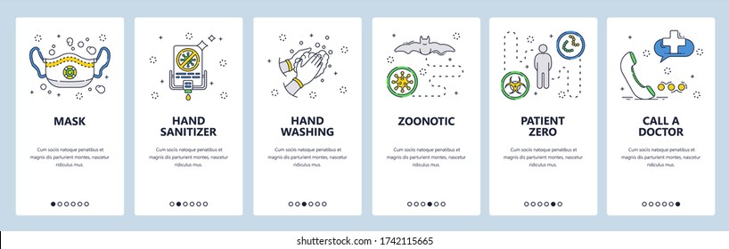 Corona virus protection icons. Face mask, hand sanitizer, zero patient, call a doctor. Mobile app screens. Vector banner template for website and mobile development. Web site design illustration.