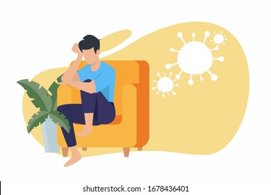 Corona virus - staying at home (self-isolation). Home Quarantine illustration. Corona virus self-quarantine. Isolation period at home. Self-isolation shield from coronavirus. Vector.