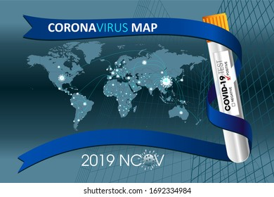 Corona virus and World spread Map, concept coronavirus COVID-19.  Vector illustration