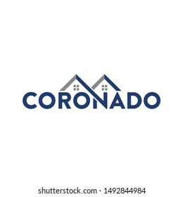 Coronado Text and Home Icon and Symbol. Logo Vector. Eps 10.