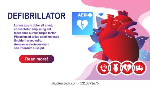 Coronary artery disease, emergency first aid CPR and AED. Atherosclerosis medical: healthy and damaged heart, blood vessel section with fatty deposit accumulation diagnostics. Vector illustration