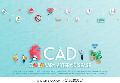 Coronary Artery Disease patient treatment Concept.Bad behavior. The complication of body and gender. Vector Illustration
