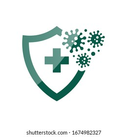 Coronavirus 2019-nCoV Bacteria Icon. Bacteria Protection logo vector. Coronavirus outbreak Stop virus. Isolated vector icon of virus on blue background for poster, banner, flyer.