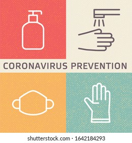 Coronavirus (2019-nCoV) disease prevention illustration. Outline icons showing disinfection, hygiene, mask and glove protection from new Covid-19 flu in Wuhan, China.