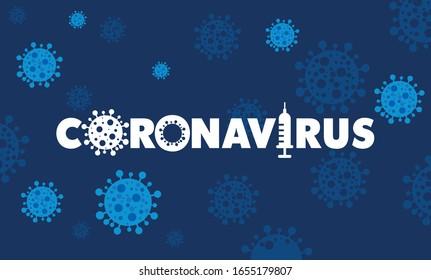 Coronavirus 2019-Cov neuartiges Coronavirus-Konzept, verantwortlich für Krankheitsausbruch und Koronviren Influenza als gefährliche Grippevirusstämme als Pandemie. Microscope virus, Nahaufnahme Logo-Design.