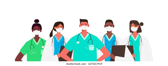 Coronavirus 2019-nCoV. Set of doctors characters in white medical face mask. Stop Coronavirus concept. Medical team doctor nurse therapist surgeon professional hospital workers, group of medics.