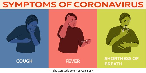 Coronavirus 2019-nCoV symptoms, healthcare and medicine infographic: cough, fever, shortness of breath. Hand drawn vector illustration for print, booklet, poster, flyer, guid