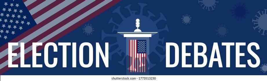Coronavirus affects presidential election 2020 in USA concept. Public speaker politician tribune, United States of America flag. Covid-19 pathogen silhouette, pandemic virus impacts on debates. Vector