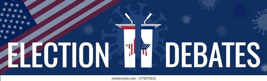 Coronavirus affects USA presidential election 2020 vector concept. Public speakers politician tribunes, United States of America flag. Covid-19 pathogen silhouette, pandemic virus impacts on debates