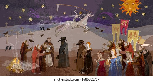 Coronavirus art. Terrible doctors. Plague epidemic. Horseman of death on horse. Middle Ages parchment style. World pestilence. Ancient book illustration. Medieval scene