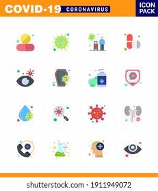 Coronavirus Awareness icon 16 Flat Color icons. icon included tablets; medicine; sars; virus; transmission viral coronavirus 2019-nov disease Vector Design Elements