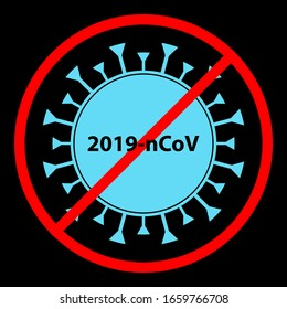 Coronavirus Bacteria Cell Icon, 2019-nCoV Novel Coronavirus Bacteria. No Infection and Stop Coronavirus Concepts. Dangerous Coronavirus Cell in China, Wuhan