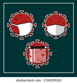 Coronavirus Bacteria Cell. Virus cell. Set. Icon. Global pandemic. Virus wears a mask and face shield. Illustration vector