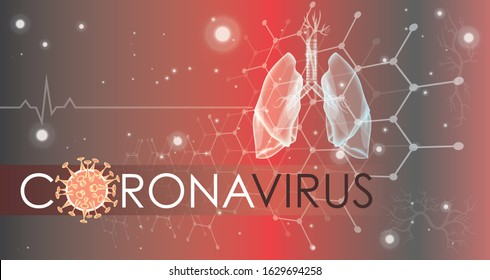 Coronavirus banner for awareness & alert against disease spread, symptoms or precautions. Corona virus design with infected lungs and virus microscopic view background. Respiratory system.