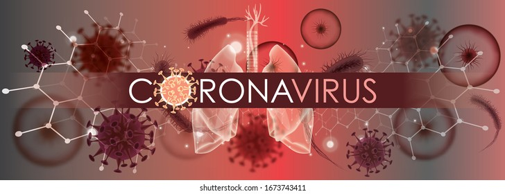 Coronavirus banner for awareness & alert against epidemic disease spread, symptoms or precautions. Corona virus design with infected lungs & viral microscopic view data background. Respiratory system