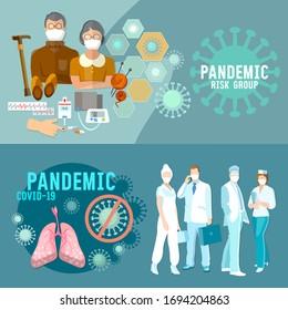 Coronavirus banner. COVID-19 (SARS-CoV-2). Group of doctors saves elderly people. Virus infection control, hygiene, medical masks, self-isolation . Stop epidemic - Shutterstock ID 1694204863