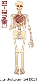 Coronavirus banner, human skeleton with virus covid-19, vector illustration