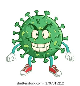coronavirus cartoon character with funny evil smile expression