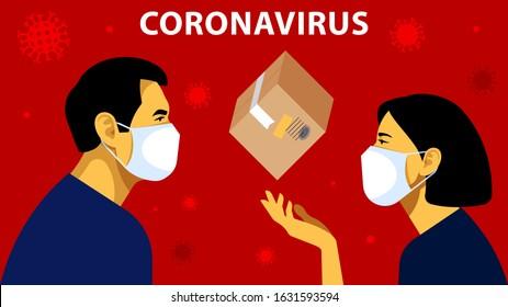 Coronavirus in China. Novel coronavirus (2019-nCoV), man in white medical face mask. Shipping from China. Goods delivery. Concept of coronavirus quarantine. Vector illustration.
