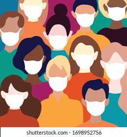 Coronavirus in China. Novel coronavirus (2019-nCoV), Menschen mit weißer medizinischer Gesichtsmaske. Konzept der Coronavirus Quarantine Vektorillustration Illustration Muster.