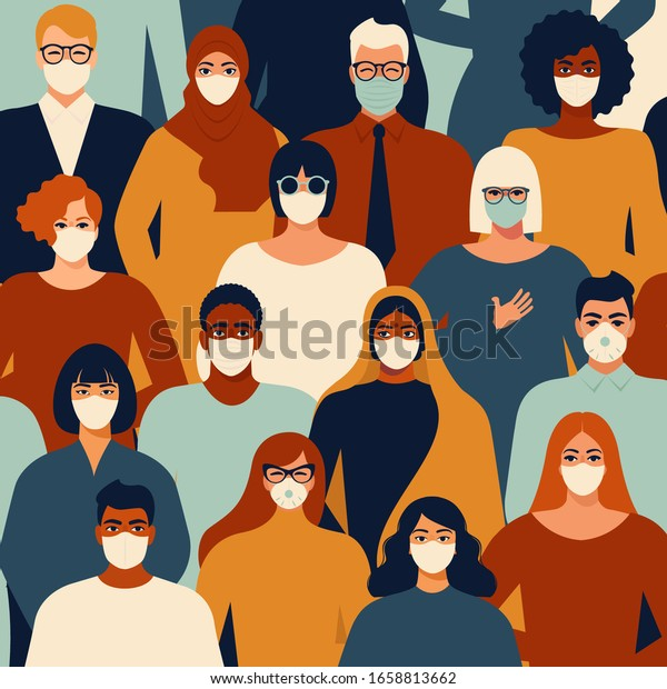 Coronavirus in China. Novel coronavirus (2019-nCoV), people in white medical face mask. Concept of coronavirus quarantine vector illustration pattern.