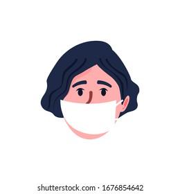 Coronavirus in China. Novel coronavirus (2019-nCoV), woman in white medical face mask. Concept of coronavirus quarantine. Vector illustration
