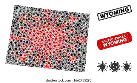 Coronavirus collage Wyoming State map and rubber stamp watermarks. Wyoming State map collage designed with random red and black infection elements. Rectangle seals, with unclean texture.