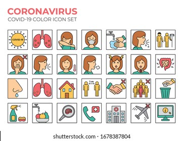 Coronavirus color icon set for infographics or website. Covid-19 symptoms, precaution and health icons. Virus pandemic vector illustrations. 2019-nCoV prevention tips (mask, wash hands, cough elbow..)