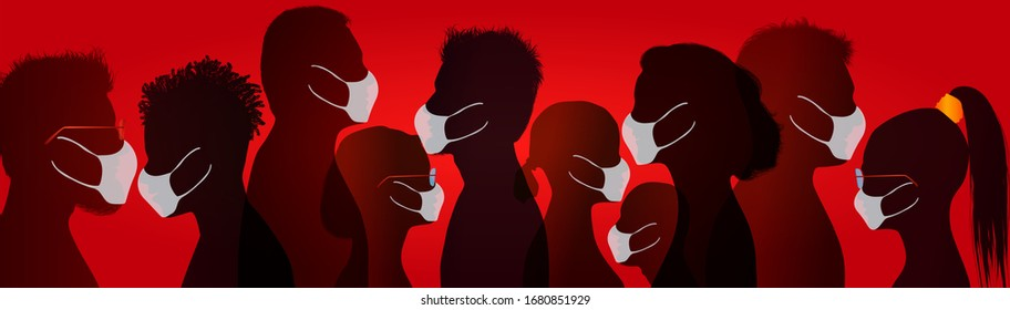 Coronavirus concept. Group of people wearing medical masks. Crowd of people protecting themselves against pandemic epidemic infection. Virus. Antivirus. Contamination. Red background