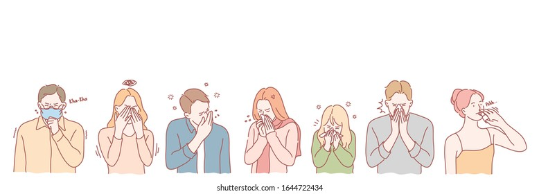 Coronavirus concept.  People with viral desease set concept. Group of young men and women has serious viral deseases. Allergic boys and girls cough and sneeze using handkerchief and nose drops.