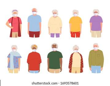 Coronavirus Covid 19, old people white medical face mask. Flat cartoon style. International older people wearing masks. grandmother grandfather protected virus, flu, stop pandemic. Vector illustration