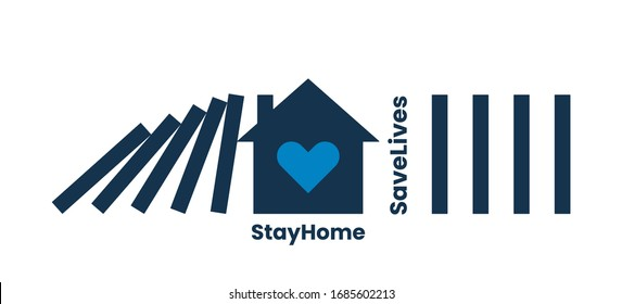 Coronavirus, covid 19 protective or social distancing concept. Stay home, save lives quote. House with heart inside as domino fall obstacle. Stay home, save lives typography. Vector illustration