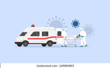 Coronavirus Covid 2019. First Aid. Ambulance. Medical staff. Vector