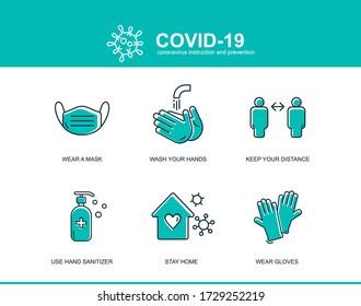 Tipps zur Vorbeugung von Coronavirus Covid, wie eine Vorlage verhindert werden kann. Infographic Element Gesundheit und medizinische Wuhan Vektor Illustrationsmaske, Hände waschen, Abstand halten, zu Hause bleiben.