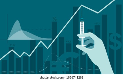 coronavirus COVID-19 2019-ncov vaccine discovery impact on stock market. Doctor hand in medical glove holdingsyringe with vaccine shot.Flat vector illustration
