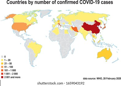 Coronavirus COVID-19 cases on world map. Countries by number of confirmed COVID-19 cases. Easy to edit map. Infographics design. Data source WHO, 28 February 2020.