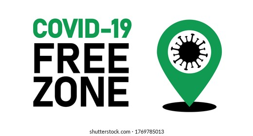 Coronavirus covid-19 free zone, area. Disease free zone sign, symbol. Stop covid-19 icon. Vector illustration isolated on white background for templates, banners, stickers.