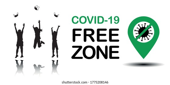Coronavirus covid-19 free zone, area. Disease free zone sign, symbol. People celebrating without mask. End of coronavirus pandemic. Vector illustration for templates, banners, stickers, posters.