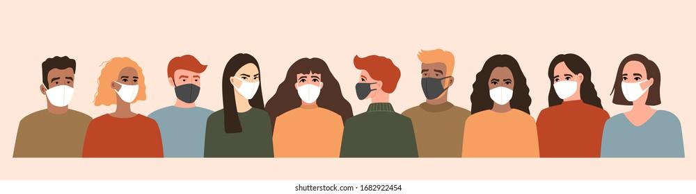 코로나바이러스, VID-19흰색 얼굴 마스크와 검정색 얼굴 마스크로벡터 배너 삽화입니다.