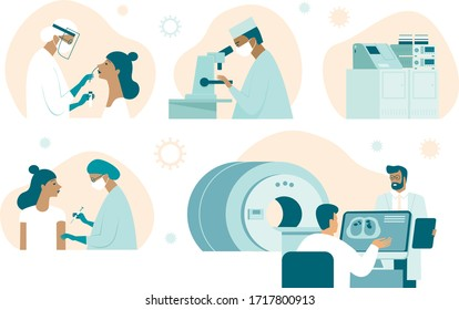 Coronavirus COVID-19 illustration set. Doctor making nasal swab test. Lab assistant examinesample withmicroscope. Vaccinediscovery. Medical team making computer tomography.damaged lungs on screen
