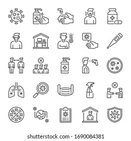 Coronavirus Covid-19 line icon set for infographic, website, mobile, print etc, 2019-nCoV vector illustration of  virus, washing hands, work from home, stay at home, social distancing, pandemic etc