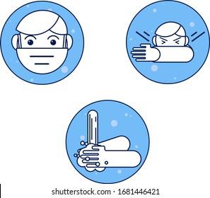 Coronavirus COVID-19 Ausbruch Konzept, Wie Sie sich vor Infektionen schützen, Hand waschen, tragen Sie eine Maske, bedecken Sie Ihre Nase. Vektorillustration, Flachdesign. Abstrakte Infografik-Symptome und