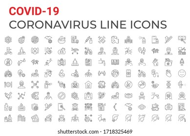 Coronavirus COVID-19 pandemic respiratory pneumonia disease related vector icons set line style. Included icons symptoms, transmission, prevention, treatment, virus, contagious, infection 2019-nCoV