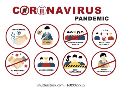 Coronavirus, covid-19 sign set No handshake and wash hands, Self quarantine and avoid crowded places, use face mask and  keep distance concept. Signs with people on the subject coronavirus