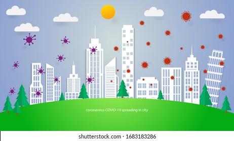 coronavirus COVID-19 spreading in the world. paper cut city. vector virus concept.