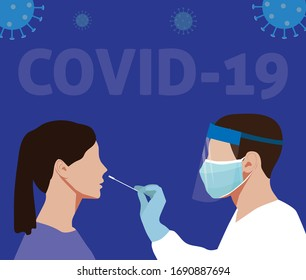 Coronavirus Covid-19 testing carried out by a medical professional, worker, doctor, or nurse. Patient receiving a Corona test.